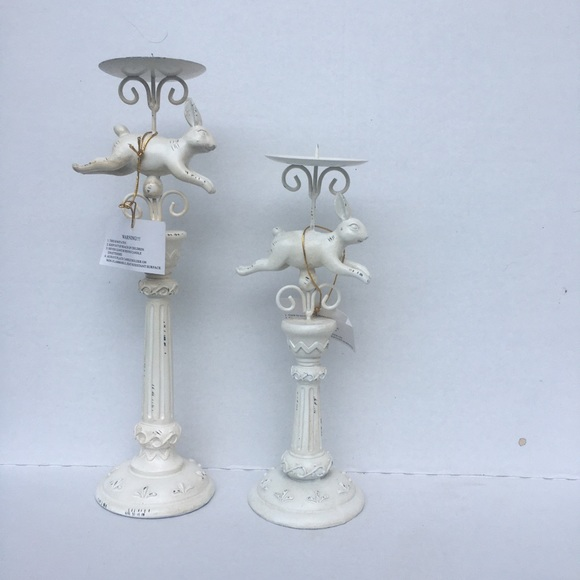 White antiqued bunny candlesticks pair NEW